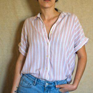 Calvin Klein short sleeve button down blouse